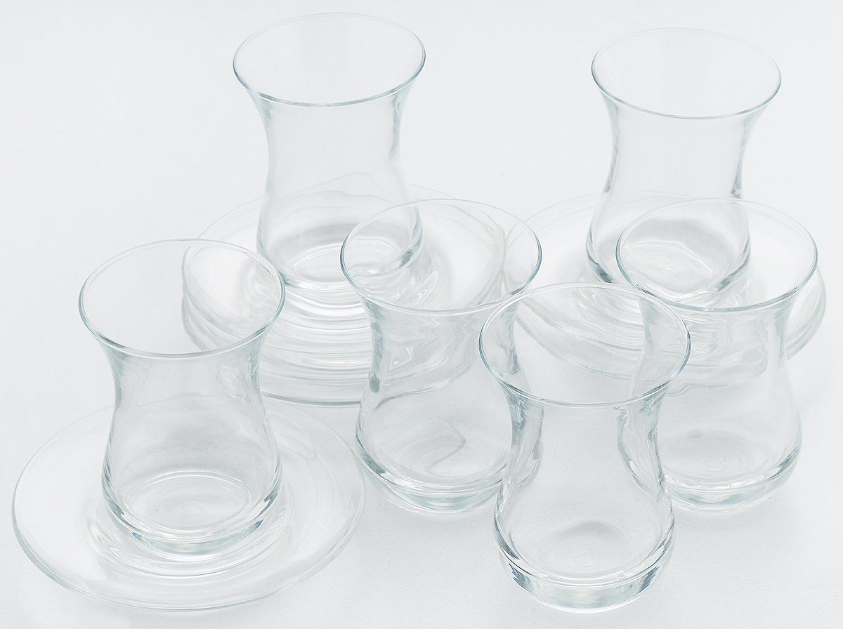 Набор стаканов Pasabahce Tea & Coffee, с блюдцами, 12 предметовVT-1520(SR)Набор Pasabahce Tea & Coffee состоит из 6 стаканов и 6 блюдец, выполненных из высококачественного стекла. Благодаря такому набору пить напитки будет еще вкуснее. Набор Pasabahce Tea & Coffee станет также отличным подарком на любой праздник. Подходит для горячих и холодных напитков. Объем стакана: 160 мл. Высота стакана: 9,5 см. Диаметр блюдца: 12 см.