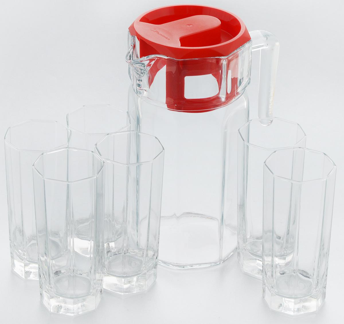 Набор для воды Pasabahce Kosem, 7 предметов. 97415BVT-1520(SR)Набор Pasabahce Kosem состоит из шести стаканов и графина, выполненных из прочного натрий-кальций-силикатного стекла. Предметы набора, оснащенные рельефной многогранной поверхностью, предназначены для воды, сока и других напитков. Графин снабжен пластиковой, плотно закрывающейся крышкой. Изделия сочетают в себе элегантный дизайн и функциональность. Благодаря такому набору пить напитки будет еще вкуснее.Набор для воды Pasabahce Kosem прекрасно оформит праздничный стол и создаст приятную атмосферу. Такой набор также станет хорошим подарком к любому случаю. Высота графина: 24 см. Объем стакана: 200 мл. Высота стакана: 15 см.