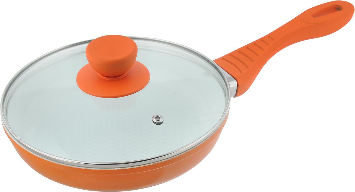 Сковорода Bohmann с крышкой, с керамическим покрытием, цвет: оранжевый. Диаметр 20 см. 7020WCWR-6138Сковорода Bohmann изготовлена из литого алюминия с антипригарным керамическим покрытием белого цвета. Внешнее покрытие - жаростойкий лак, который сохраняет цвет долгое время. Благодаря керамическому покрытию пища не пригорает и не прилипает к поверхности сковороды, что позволяет готовить с минимальным количеством масла. Кроме того, такое покрытие абсолютно безопасно для здоровья человека, так как не содержит вредной примеси PFOA. Рифленая внутренняя поверхность сковороды обеспечивает быстрое и легкое приготовление. Достоинства керамического покрытия: - устойчивость к высоким температурам и резким перепадам температур; - устойчивость к царапающим кухонным принадлежностям и абразивным моющим средствам; - устойчивость к коррозии; - водоотталкивающий эффект; - покрытие способствует испарению воды во время готовки; - длительный срок службы; - безопасность для окружающей среды и человека. Сковорода быстро разогревается, распределяя тепло по всей поверхности, что позволяет готовить в энергосберегающем режиме, значительно сокращая время, проведенное у плиты. Изделие оснащено ручкой, выполненной из пластика с термостойким силиконовым покрытием. Такая ручка не нагревается в процессе готовки и обеспечивает надежный хват. Крышка, изготовленная из жаропрочного стекла, оснащена ручкой, отверстием для выпуска пара и металлическим ободом. Благодаря такой крышке можно следить за приготовлением пищи без потери тепла. Подходит для газовых, электрических и стеклокерамических плит, включая индукционные. Можно мыть в посудомоечной машине.Диаметр сковороды: 20 см.Высота стенки: 4,5 см. Длина ручки: 17,5 см.