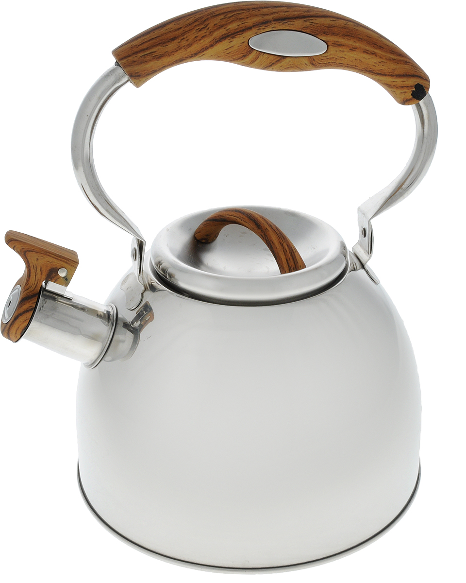 Чайник Mayer & Boch, со свистком, цвет: дерево, стальной, 3 л. 4128115510Чайник Mayer & Boch выполнен из высококачественной нержавеющей стали, что делаетего весьма гигиеничным и устойчивым к износу при длительном использовании. Носик чайникаоснащен насадкой-свистком, что позволит вам контролировать процесс подогрева иликипяченияводы. Подвижная ручка, выполненная из нейлона, дает дополнительное удобствопри наливании напитка.Поверхность чайника гладкая, что облегчает уход за ним. Эстетичный и функциональный, с эксклюзивным дизайном, чайник будет оригинальносмотретьсяв любом интерьере.Подходит для всех типов плит, кроме индукционных. Можно мыть в посудомоечной машине.Диаметр (по верхнему краю): 10 см. Высота чайника (без учета крышки и ручки): 12 см.Высота ручки: 12,5 см