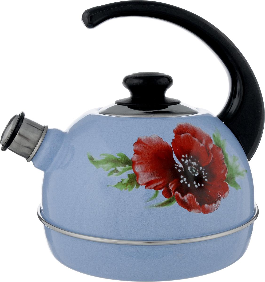 Чайник эмалированный Рубин Маковый цветок, со свистком, 3,5 л54 009303Чайник Рубин Маковый цветок выполнен из высококачественного стального проката, что обеспечивает долговечность использования. Внешнее трехслойное эмалевое покрытие Mefrit не вступает во взаимодействие с пищевыми продуктами. Такое покрытие защищает сталь от коррозии, придает посуде гладкую стекловидную поверхность и надежно защищает от кислот и щелочей. Чайник оснащен фиксированной ручкой из пластика и крышкой, которая плотно прилегает к краю. Носик чайника оснащен съемным свистком, звуковой сигнал которого подскажет, когда закипит вода. Можно мыть в посудомоечной машине. Пригоден для всех видов плит, включая индукционные. Высота чайника (с учетом ручки): 24 см.Высота чайника (без учета крышки и ручки): 14 см.Диаметр по верхнему краю: 8,7 см.