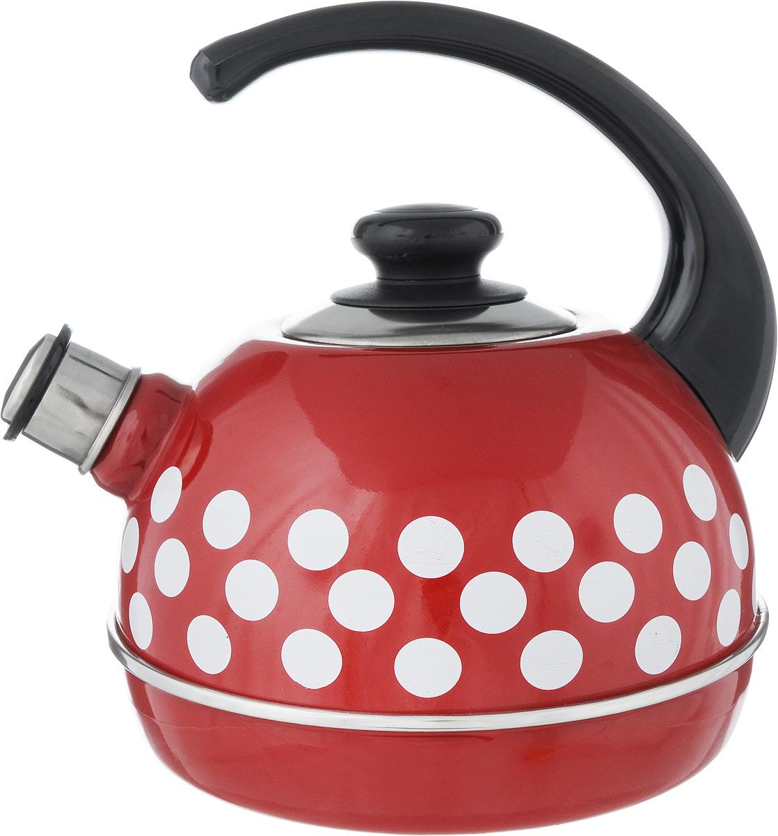 Чайник эмалированный Рубин Горох, со свистком, цвет: бордовый, белый, 3,5 л. T04VT-1520(SR)Чайник Рубин Горох выполнен из высококачественного стального проката, что обеспечивает долговечность использования. Внешнее трехслойное эмалевое покрытие Mefrit не вступает во взаимодействие с пищевыми продуктами. Такое покрытие защищает сталь от коррозии, придает посуде гладкую стекловидную поверхность и надежно защищает от кислот и щелочей. Чайник оснащен фиксированной ручкой из пластика и крышкой, которая плотно прилегает к краю. Носик чайника оснащен съемным свистком, звуковой сигнал которого подскажет, когда закипит вода. Можно мыть в посудомоечной машине. Пригоден для всех видов плит, включая индукционные. Высота чайника (с учетом ручки): 24 см.Высота чайника (без учета крышки и ручки): 14 см.Диаметр по верхнему краю: 8,5 см.