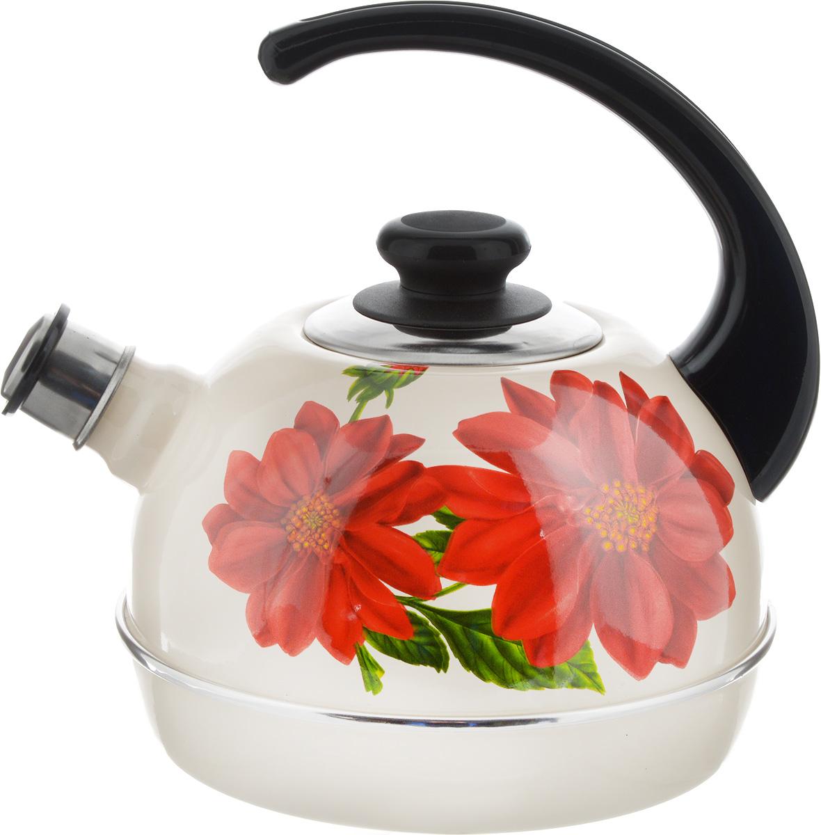 Чайник Рубин, со свистком, цвет: бежевый, красный, зеленый, 3,5 л54 009312Чайник Рубин выполнен из высококачественной стали, что обеспечивает долговечность использования. Внешнее цветное эмалевое покрытие придает приятный внешний вид. Пластиковая фиксированная ручка делает использование чайника очень удобным и безопасным. Чайник снабжен съемным свистком.Можно мыть в посудомоечной машине. Пригоден для всех видов плит, включая индукционные.Высота чайника (без учета крышки и ручки): 14 см.Диаметр основания: 19 см.
