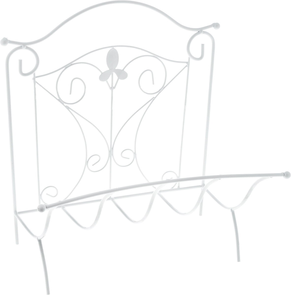 Подставка для газет Magic Home Французская лилия, 39 х 31 х 39 см44429Удобная подставка Magic Home Французская лилия предназначена для хранения газет и журналов. Изделие выполнено из кованого металла в классическом стиле. Изделие украшено изящными завитками и цветком из металла. Подставка располагается на удобных металлических ножках. Такая подставка поможет не только хранить газеты и журналы в одном месте, но и станет предметом декора.Размер подставки: 39 х 31 х 39 см.