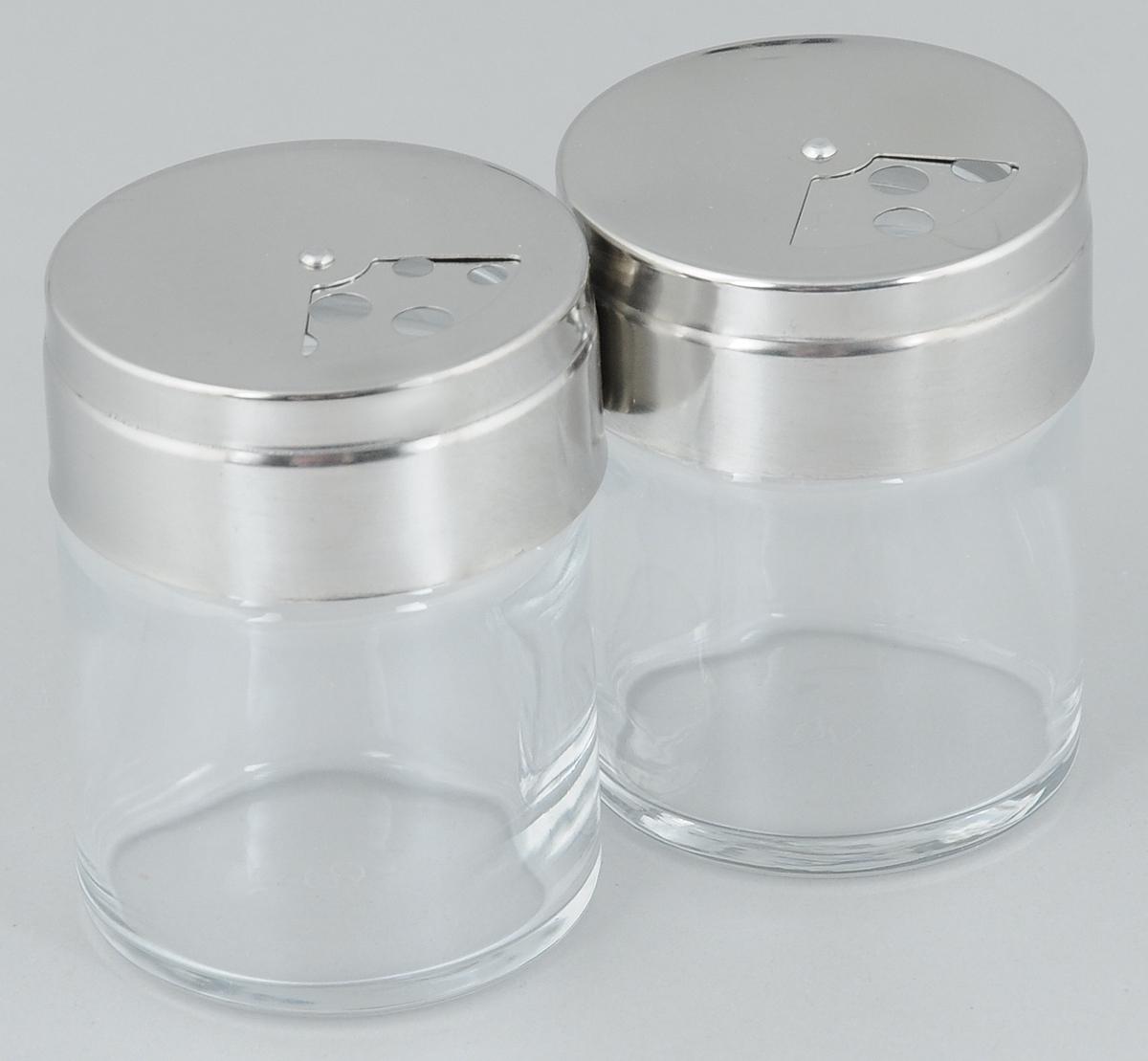 Набор емкостей для специй Pasabahce Basic, 115 мл, 2 шт115510Набор Pasabahce Basic состоит из двух емкостей для специй, изготовленных из прозрачного стекла, что позволяет видеть количество содержимого в емкости. Изделия оснащены откручивающимися металлическими крышками с отверстиями.Стильная форма этих емкостей привлекает внимание и будет уместна на любой кухне.Размер емкости: 5,5 х 5,5 х 7 см.
