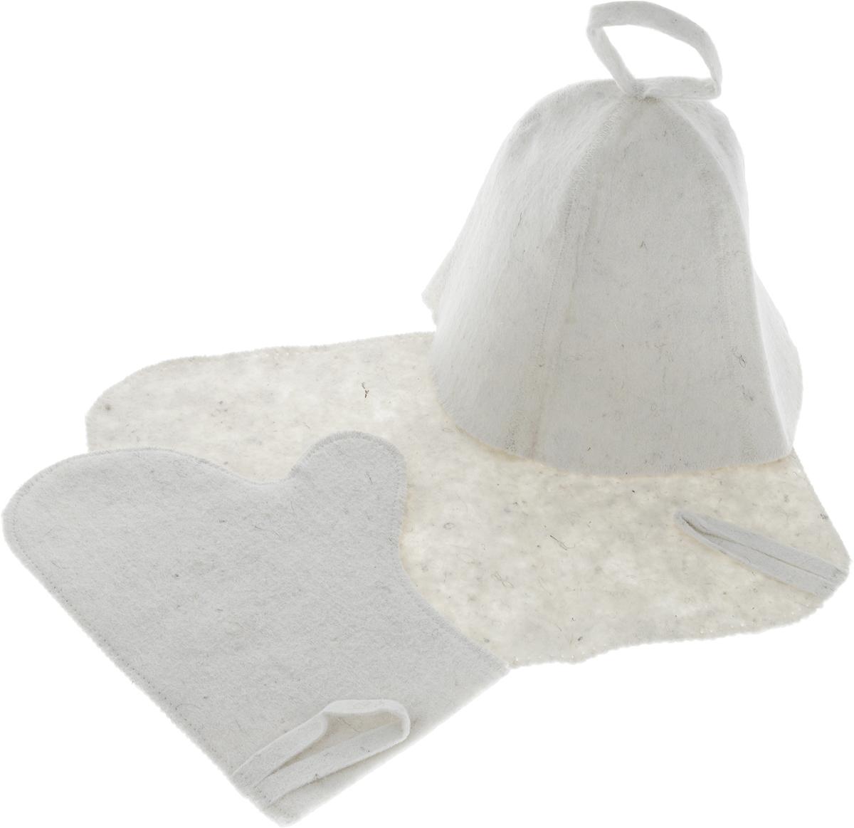 Набор для бани и сауны Proffi, 3 предметаAPS-4L-01Оригинальный набор для бани и сауны Proffi включает в себя шапку, рукавицу и коврик. Изделия выполнены из войлока. Шапка, рукавица и коврик - это незаменимые аксессуары для любителей попариться в русской бане и для тех, кто предпочитает сухой жар финской бани. Шапка защитит волосы от сухости и ломкости, голову от перегрева и предотвратит появление головокружения. Рукавица обезопасит ваши руки от появления ожогов, а коврик - от высоких температур при контакте с горячей лавкой в парилке. На изделиях имеются петельки, с помощью которых их можно повесить на крючок в предбаннике.Такой набор станет отличным подарком для любителей отдыха в бане или сауне. Размер коврика: 40 х 30 см. Размер шапки: 23 х 23 х 24 см. Размер рукавицы: 28 х 22 см.
