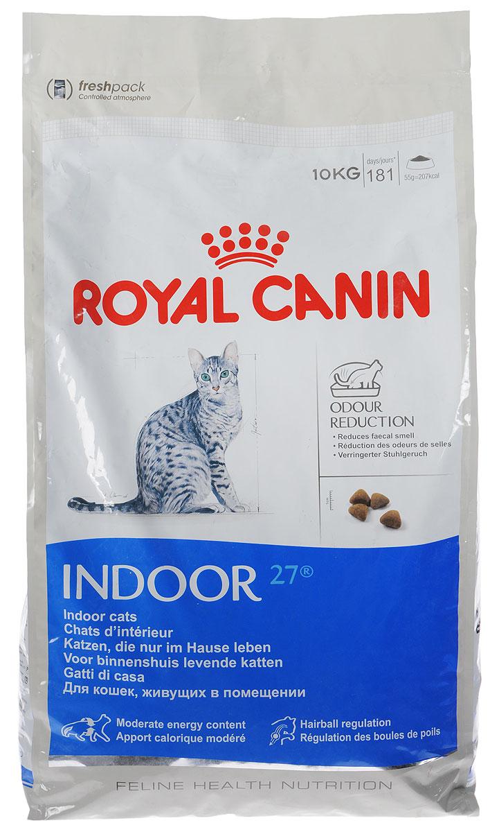 Корм сухой Royal Canin Indoor 27, для кошек в возрасте от 1 года до 7 лет, живущих в помещении, для ослабления запаха фекалий, 10 кг24Сухой корм Royal Canin Indoor 27 - полнорационное питание для кошек от 1 до 7 лет, живущих в помещении.Кошка, постоянно живущая в помещении, ограничена в движении, поэтому большую часть своего времени она тратит на сон и прием пищи. Низкая активность кошки вызывает вялую работу кишечника и, как следствие, появление жидкого стула с резким неприятным запахом. У домашних кошек повышается риск появления избыточного веса.Ежедневное вылизывание шерсти приводит к образованию волосяных комочков в желудке кошки.Ослабление запаха фекалий.Ослабляет запах фекалий кошки благодаря высокому содержанию L.I.P. Высокоперевариваемый корм Royal Canin Indoor 27 способствует значительному ослаблению запаха стула кошки в результате уменьшения выделения сероводорода - зловонного газа, выделяющегося из фекалий.Умеренное содержание энергии: способствует уменьшению жировых отложений у кошек за счет умеренного содержания калорий и добавления L-карнитина (50 мг/кг). Выведение волосяных комочков: стимулирует кишечный транзит благодаря сочетанию ферментируемой и неферментируемой клетчатки.Состав: кукуруза, дегидратированное мясо домашней птицы, рис, изолят растительного белка, пшеница, животные жиры, гидролизат белков животного происхождения, растительная клетчатка, минеральные вещества, свекольный жом, соевое масло, фруктоолигосахариды, дрожжи, рыбий жир.Добавки (на 1 кг):Витамин А - 14700 МЕ, Витамин D3 - 800 МЕ, Е1 (железо) - 50 мг, Е2 (йод) - 5 мг, Е5 (марганец) - 56 мг, Е6 (цинк) - 194 мг, Селен - 0,11 мг, консервант: сорбат калия, антиоксиданты: пропигаллат, БГА.Товар сертифицирован.Уважаемые клиенты! Обращаем ваше внимание на возможные изменения в дизайне упаковки. Качественные характеристики товара остаются неизменными. Поставка осуществляется в зависимости от наличия на складе.