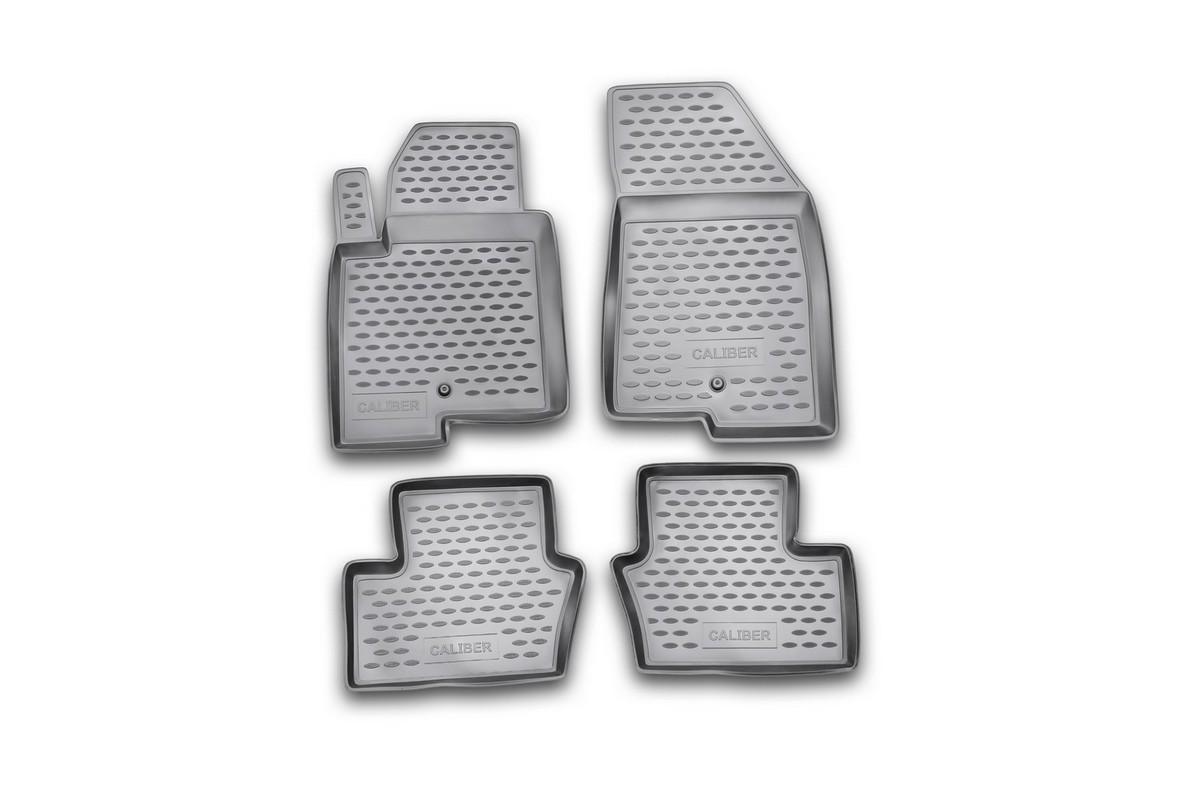 Набор автомобильных ковриков Novline-Autofamily для Dodge Caliber 2006-, в салон, цвет: серый, 4 шт300240Набор автомобильных ковриков Novline-Autofamily, изготовленный из полиуретана, состоит из 4 ковриков, которые учитывают все особенности каждой модели автомобиля и полностью повторяют контуры пола. Полиуретановые автомобильные коврики для салона произведены из высококачественного материала, который держит форму, прочный и не пачкает обувь. Коврики в салон не только улучшат внешний вид салона вашего автомобиля, но и надежно уберегут его от пыли, грязи и сырости, а значит, защитят кузов от коррозии. Полиуретановые коврики для автомобиля гладкие, приятные и не пропускают влагу. Ковры для автомобилей надежно крепятся на полу и не скользят, что очень важно во время движения. Чистятся коврики очень просто: как при помощи автомобильного пылесоса, так и различными моющими средствами. Набор подходит для Dodge Caliber с 2006 года выпуска.
