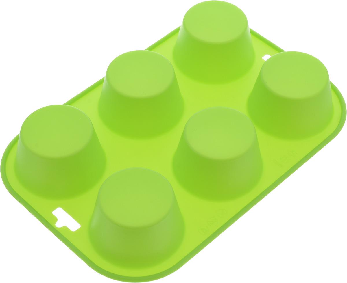 Форма для выпечки Paterra, силиконовая, цвет: зеленый, 6 ячеек54 009312Форма для кексов и желе Paterra, выполненная из силикона, будет отличным выбором для всех любителей домашней выпечки. Форма имеет 6 круглых ячеек. Силиконовые формы для выпечки имеют множество преимуществ по сравнению с традиционными металлическими формами и противнями. Нет необходимости смазывать форму маслом. Она быстро нагревается, равномерно пропекает, не допускает подгорания выпечки с краев или снизу. Вынимать продукты из формы очень легко. Слегка выверните края формы или оттяните в сторону, и ваша выпечка легко выскользнет из формы. Материал устойчив к фруктовым кислотам, не ржавеет, на нем не образуются пятна. Форма может быть использована в духовках и микроволновых печах (выдерживает температуру от -40°С до +250°С), также ее можно помещать в морозильную камеру и холодильник.Размер формы: 24 х 16,5 х 3,5 см.Размер ячейки: 6 х 6 х 3,5 см
