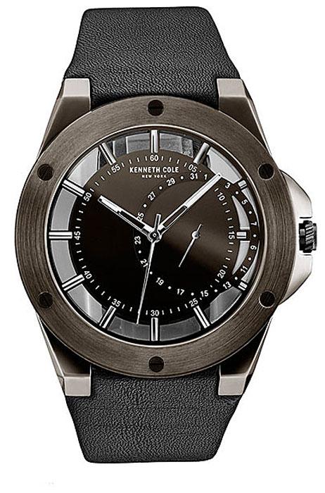 Наручные часы мужские Kenneth Cole Transparency, цвет: черный. 10030785BM8434-58AEНаручные часы Kenneth Cole, корпус и задняя крышка из стали