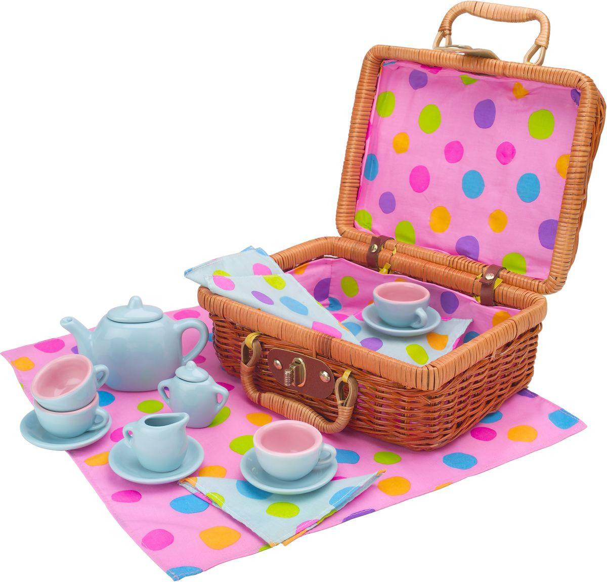 Alex Игровой набор посуды Чайный сервиз 18 предметов плетеную корзину из лозы для подарков