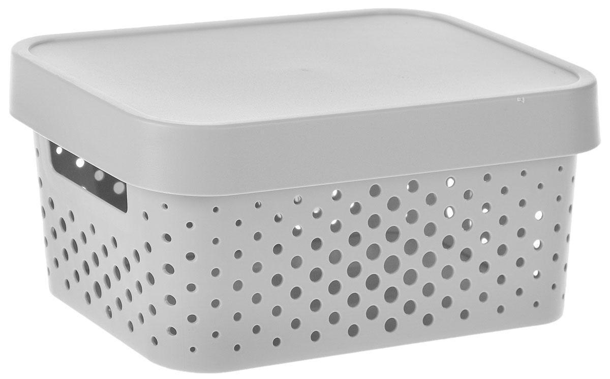 Коробка для хранения Curver Infinity, с крышкой, цвет: серый, 4,5 лU210DFКоробка для хранения мелочей Curver Infinity выполнена из высококачественного пластика. Специальные отверстия на стенках создают идеальные условия для проветривания. Изделие оснащено крышкой и двумя эргономичными ручками для переноски. Коробка Curver очень вместительна и поможет вам хранить все необходимые мелочи в одном месте.Объем коробки: 4,5 л.Размер коробки (с учетом крышки): 26 х 17,5 х 12,5 см.