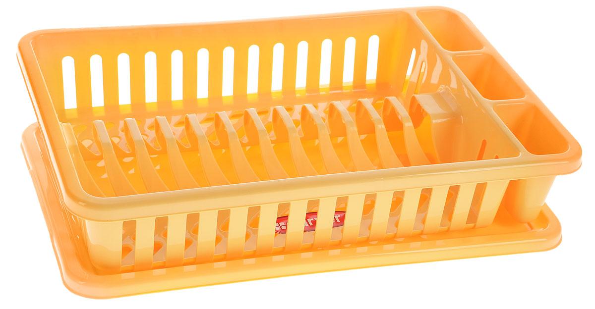 Сушилка для посуды Curver Мини, с поддоном, цвет: желтый, 42 х 26,5 х 8,2 смМ 1140Сушилка для посуды Curver Мини изготовлена из высококачественного прочного пластика. Изделие оснащено пластиковым поддоном для стекания воды и содержит секции для вертикальной сушки посуды и столовых приборов. Такая сушилка не займет много места на кухне и поможет аккуратно хранить вашу посуду.Размер сушилки: 42 см х 26,5 см х 8,2 см.Размер поддона: 42,5 см х 27,5 см х 1,2 см.