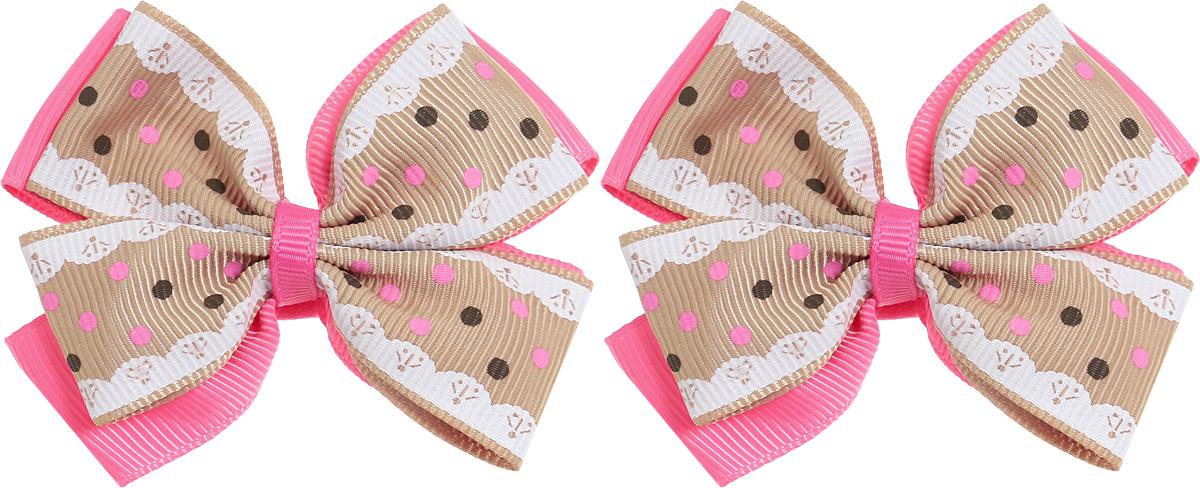 Babys Joy Резинка для волос Бант цвет розовый бежевый белый 2 шт MN 75/2MP59.4DРезинка для волос Babys Joy выполненав виде двойного банта из декоративных лент разного цвета, розового и коричневого с розовыми и темно-коричневым горохом. Резинка позволит не только убрать непослушные волосы с лица, но и придать образу немного романтичности и очарования.В упаковке: 2 резинки.Рекомендовано для детей старше трех лет.