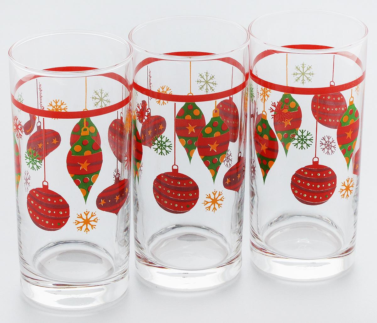 Набор стаканов Pasabahce Workshop Christmas Toys, 287 мл, 3 штVT-1520(SR)Набор Pasabahce Workshop Christmas Toys состоит из трех бокалов, выполненных из закаленного натрий-кальций-силикатного стекла. Изделия украшены ярким рисунком и прекрасно подойдут для подачи холодных напитков. Их оценят как любители классики, так и те, кто предпочитает современный дизайн.Набор идеально подойдет для сервировки стола и станет отличным подарком к любому празднику.