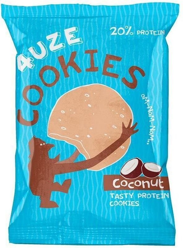 Печенье белковое 4UZE  Fuze Cookies , кокос, 640 г, 16 упаковок - Батончики