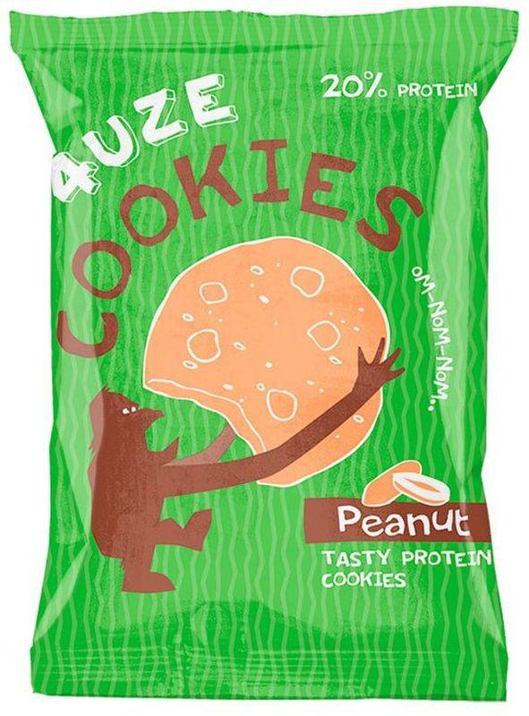Печенье белковое 4UZE  Fuze Cookies , арахис, 640 г, 16 упаковок - Батончики