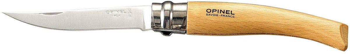 Нож филейный Opinel Slim №08, длина клинка 8 см, цвет: светло-коричневый. 000516000516Нож филейный Opinel изготовлен из нержавеющей стали с рукояткой из бука. Лезвие с матовой полировкой. Идеальный карманный нож для пикника, барбекю, походов, охоты и рыбалки.Характеристики. Материал лезвия: сталь Sandvik 12C27. Материал рукояти: бук. Тип ножевого замка: Viroblock. Приспособление для открытия клинка: насечка на лезвии. Длина лезвия, см: 8. Длина ножа, см: 18,5. Ширина лезвия, см: 1,57. Длина в сложенном положении, см: 10,6. Вес, гр: 30. Viroblock - оригинальное запорное устройство, представляющее собой кольцо с прорезью, которое, будучи повернуто относительно оси ножа, упирается в пятку клинка и не дает ножу самопроизвольно складываться при работе или раскладываться в кармане. Конструкция эта защищена патентом и устанавливается на ножи Opinel с 1955 года, начиная с модели № 6. Французская форма Opinel - производитель ножей с 1890 года. Удачная конструкция ножей обеспечила фирме не только длительное существование, но и всемирную славу. Ножи Opinel являются символом Франции. Классический нож этого типа - рукоять из дерева, металлическая втулка, ось, клинок и поворотное кольцо. Такая простота наряду с малой ценой и отличным качеством - вот рецепт успеха этих ножей. Наиболее распространены ножи с поворотным кольцом, которое фиксирует клинок в двух положениях.