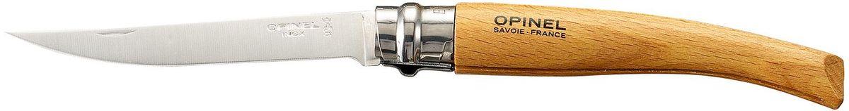 Нож филейный Opinel Slim №10, длина клинка 10 см, цвет: светло-коричневый. 000517000517Нож филейный Opinel изготовлен из нержавеющей стали с рукояткой из бука с матовой полировкой. Идеальный карманный нож для пикника, барбекю, походов, охоты и рыбалки.Характеристики. Материал лезвия: сталь Sandvik 12C27. Материал рукояти: бук. Тип ножевого замка: Viroblock. Приспособление для открытия клинка: насечка на лезвии. Длина лезвия, см: 10. Длина ножа, см: 22,5. Ширина лезвия, см: 1,68. Длина в сложенном положении, см: 12,5. Вес, гр: 40. Viroblock - оригинальное запорное устройство, представляющее собой кольцо с прорезью, которое, будучи повернуто относительно оси ножа, упирается в пятку клинка и не дает ножу самопроизвольно складываться при работе или раскладываться в кармане. Конструкция эта защищена патентом и устанавливается на ножи Opinel с 1955 года, начиная с модели № 6. Французская форма Opinel - производитель ножей с 1890 года. Удачная конструкция ножей обеспечила фирме не только длительное существование, но и всемирную славу. Ножи Opinel являются символом Франции. Классический нож этого типа - рукоять из дерева, металлическая втулка, ось, клинок и поворотное кольцо. Такая простота наряду с малой ценой и отличным качеством - вот рецепт успеха этих ножей. Наиболее распространены ножи с поворотным кольцом, которое фиксирует клинок в двух положениях.