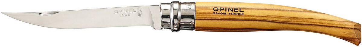 Нож филейный Opinel Slim №10, длина клинка 10 см, цвет: светло-коричневый. 000645000645Нож филейный Opinel изготовлен из нержавеющей стали с рукояткой из оливы с зеркальной полировкой. Идеальный карманный нож для пикника, барбекю, походов, охоты и рыбалки.Характеристики. Материал лезвия: сталь Sandvik 12C27. Материал рукояти: бук. Тип ножевого замка: Viroblock. Приспособление для открытия клинка: насечка на лезвии. Длина лезвия, см: 10. Длина ножа, см: 22,5. Ширина лезвия, см: 1,68. Длина в сложенном положении, см: 12,5. Вес, гр: 40. Viroblock - оригинальное запорное устройство, представляющее собой кольцо с прорезью, которое, будучи повернуто относительно оси ножа, упирается в пятку клинка и не дает ножу самопроизвольно складываться при работе или раскладываться в кармане. Конструкция эта защищена патентом и устанавливается на ножи Opinel с 1955 года, начиная с модели № 6. Французская форма Opinel - производитель ножей с 1890 года. Удачная конструкция ножей обеспечила фирме не только длительное существование, но и всемирную славу. Ножи Opinel являются символом Франции. Классический нож этого типа - рукоять из дерева, металлическая втулка, ось, клинок и поворотное кольцо. Такая простота наряду с малой ценой и отличным качеством - вот рецепт успеха этих ножей. Наиболее распространены ножи с поворотным кольцом, которое фиксирует клинок в двух положениях.