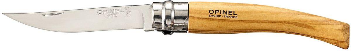 Нож филейный Opinel Slim №08, длина клинка 8 см, цвет: светло-коричневый. 001144001144Нож филейный Opinel изготовлен из нержавеющей стали с рукояткой из дерева оливы с зеркальной полировкой. Идеальный карманный нож для пикника, барбекю, походов, охоты и рыбалки.Характеристики. Материал лезвия: сталь Sandvik 12C27. Материал рукояти: олива. Тип ножевого замка: Viroblock. Приспособление для открытия клинка: насечка на лезвии. Длина лезвия, см: 8. Длина ножа, см: 18,5. Ширина лезвия, см: 1,57. Длина в сложенном положении, см: 10,6. Вес, гр: 30. Viroblock - оригинальное запорное устройство, представляющее собой кольцо с прорезью, которое, будучи повернуто относительно оси ножа, упирается в пятку клинка и не дает ножу самопроизвольно складываться при работе или раскладываться в кармане. Конструкция эта защищена патентом и устанавливается на ножи Opinel с 1955 года, начиная с модели № 6. Французская форма Opinel - производитель ножей с 1890 года. Удачная конструкция ножей обеспечила фирме не только длительное существование, но и всемирную славу. Ножи Opinel являются символом Франции. Классический нож этого типа - рукоять из дерева, металлическая втулка, ось, клинок и поворотное кольцо. Такая простота наряду с малой ценой и отличным качеством - вот рецепт успеха этих ножей. Наиболее распространены ножи с поворотным кольцом, которое фиксирует клинок в двух положениях.