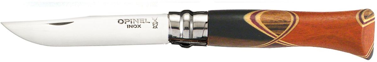 Нож Opinel Tradition. Luxury №06. Chaperon, длина клинка 7 см001400Нож Opinel с уникальной рукояткой изготовлен из нержавеющей полированной стали. Нож разработан французским краснодеревщиком Бруно Шапероном. Рукоять выполнена методом маркетри (мозаика из цветной древесины). При изготовлении рукояти каждого ножа используются одновременно 4 породы древесины. В работе над этой моделью применяются такие древесные породы как: эбеновое дерево, палисандр, кордия, кокоболо, зебрано, самшит, амарант, розовое дерево. Сочетания пород для каждого ножа выбираются произвольно, и рисунок рукояти получается уникальным и неповторимым. Фотографии товара представлены для примера. Лезвие устойчиво к коррозии благодаря добавлению хрома, а двойная полировка делает его поверхность зеркальной. Не требует специального ухода.Характеристики. Материал лезвия: сталь Sandvik 12C27. Материал рукояти: 4 различных породы древесины. Тип ножевого замка: Viroblock. Приспособление для открытия клинка: насечка на лезвии. Длина лезвия, см: 7. Длина ножа, см: 16,6. Ширина лезвия, см: 1,47. Длина в сложенном положении, см: 9,5.Viroblock - оригинальное запорное устройство, представляющее собой кольцо с прорезью, которое, будучи повернуто относительно оси ножа, упирается в пятку клинка и не дает ножу самопроизвольно складываться при работе или раскладываться в кармане. Конструкция эта защищена патентом и устанавливается на ножи Opinel с 1955 года, начиная с модели № 6. Французская форма Opinel - производитель ножей с 1890 года. Удачная конструкция ножей обеспечила фирме не только длительное существование, но и всемирную славу. Ножи Opinel являются символом Франции. Классический нож этого типа - рукоять из дерева, металлическая втулка, ось, клинок и поворотное кольцо. Такая простота наряду с малой ценой и отличным качеством - вот рецепт успеха этих ножей. Наиболее распространены ножи с поворотным кольцом, которое фиксирует клинок в двух положениях.