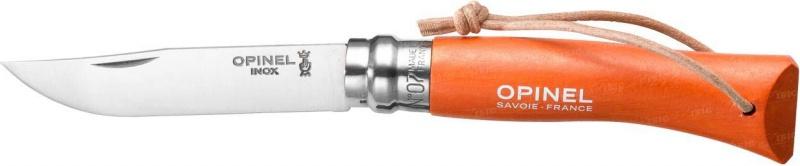 Нож Opinel Tradition. Colored №07, длина клинка 8 см, цвет: оранжевыйM-115-1Нож Opinel Tradition Colored №07, нержавеющая сталь, рукоять - граб, цвет - оранжевый, с темляком.Идеальный карманный нож для пикника, барбекю, походов, охоты и рыбалки.Характеристики ножа:Материал лезвия: сталь Sandvik 12C27Материал рукояти: окрашенный граб, цвет оранжевый Тип ножевого замка: ViroblockПриспособление для открытия клинка: насечка на лезвииДлина лезвия, см: 8Длина ножа, см: 17,5Ширина лезвия, см: 1,6Длина в сложенном положении, см: 10Вес, гр: 35Viroblock - оригинальное запорное устройство, представляющее собой кольцо с прорезью, которое, будучи повернуто относительно оси ножа, упирается в пятку клинка и не доет ножу самопроизвольно складываться при работе или раскладываться в кармане. Конструкция эта защищена патентом и устанавливается на ножи Opinel с 1955 года, начиная с модели n° 6.
