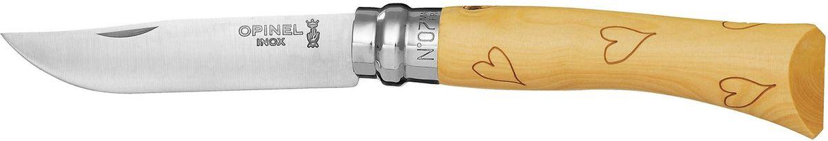 Нож Opinel Tradition. Nature №07, длина клинка 8 см, цвет: светло-бежевый. 001548SPIRIT ED 1050Нож Opinel Nature №7, нержавеющая сталь, рукоять - самшит, рисунок - сердце.Идеальный карманный нож для пикника, барбекю, походов, охоты и рыбалки.Характеристики ножа:Материал лезвия: сталь Sandvik 12C27Материал рукояти: самшит, нанесен рисунок - сердцеТип ножевого замка: ViroblockПриспособление для открытия клинка: насечка на лезвииДлина лезвия, см: 8Длина ножа, см: 17,8Ширина лезвия, см: 1,6Длина в сложенном положении, см: 10Вес, гр: 42Вес ножа с упаковкой, гр: 47Viroblock - оригинальное запорное устройство, представляющее собой кольцо с прорезью, которое, будучи повернуто относительно оси ножа, упирается в пятку клинка и не доет ножу самопроизвольно складываться при работе или раскладываться в кармане. Конструкция эта защищена патентом и устанавливается на ножи Opinel с 1955 года, начиная с модели n° 6.