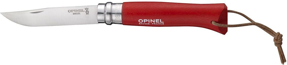 Нож Opinel Tradition. Colored №08, длина клинка 8,5 см, цвет: красныйPGPS7797CIS08GBNVНож Opinel Tradition Colored №08, нержавеющая сталь, рукоять - граб, цвет - красный, с темляком и чехлом. Идеальный карманный нож для пикника, барбекю, походов, охоты и рыбалки.Характеристики ножа:Материал лезвия: сталь Sandvik 12C27Материал рукояти: окрашенный граб, цвет красныйТип ножевого замка: ViroblockПриспособление для открытия клинка: насечка на лезвииДлина лезвия, см: 8,5Длина ножа, см: 19Ширина лезвия, см: 1,73Длина в сложенном положении, см: 11Вес, гр: 45Вес ножа с упаковкой и чехлом, гр: 80Viroblock - оригинальное запорное устройство, представляющее собой кольцо с прорезью, которое, будучи повернуто относительно оси ножа, упирается в пятку клинка и не доет ножу самопроизвольно складываться при работе или раскладываться в кармане. Конструкция эта защищена патентом и устанавливается на ножи Opinel с 1955 года, начиная с модели n° 6.