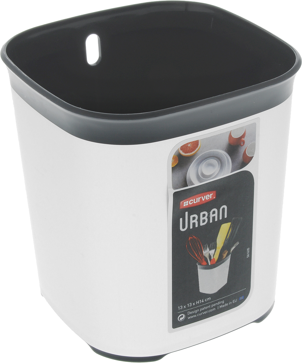 Сушилка для столовых приборов Curver Urban, цвет: серый, черный, 13 х 13 х 14 смД Дачно-Деревенский 20Сушилка для столовых приборов Curver Urban изготовлена из прочного пластика. Дно изделия оформлено перфорацией. Сушилка удобна в использовании и имеет современный дизайн, который станет ярким акцентом в интерьере вашей кухни.Можно мыть в посудомоечной машине.