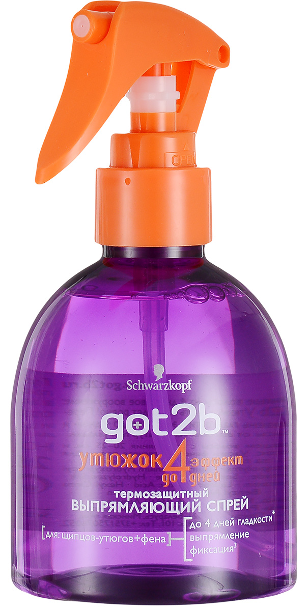Got2b Выпрямляющий спрей для волос Утюжок, термозащитный, 200 млMP59.4DТвоя мечта - прямые волосы на 4 дня? Не медли, разгладь их с помощью выпрямляющего спрея Got2b Утюжок. Твое вооружение: щипцы, фен + Утюжок, и путь к прямым волосам проложен! Перейди на новый уровень гладкости с эффектом до 4 дней и защити свои волосы от высоких температур при укладке. Дополнительный уход с коллагеном, шелком и кератином. Непослушные волосы будут укрощены и сделаются гладкими, как шелк. С помощью этого выпрямляющего спрея, щипцов-утюгов и фена ты сможешь создать удивительногладкие прически из идеально прямых волос. Спрей безопасен для волос и содержит термозащитные ингредиенты, которые защищают волосы от высоких температур и влаги, которая может поджидать на улице. Прямой путь к прямым волосам!Товар сертифицирован.