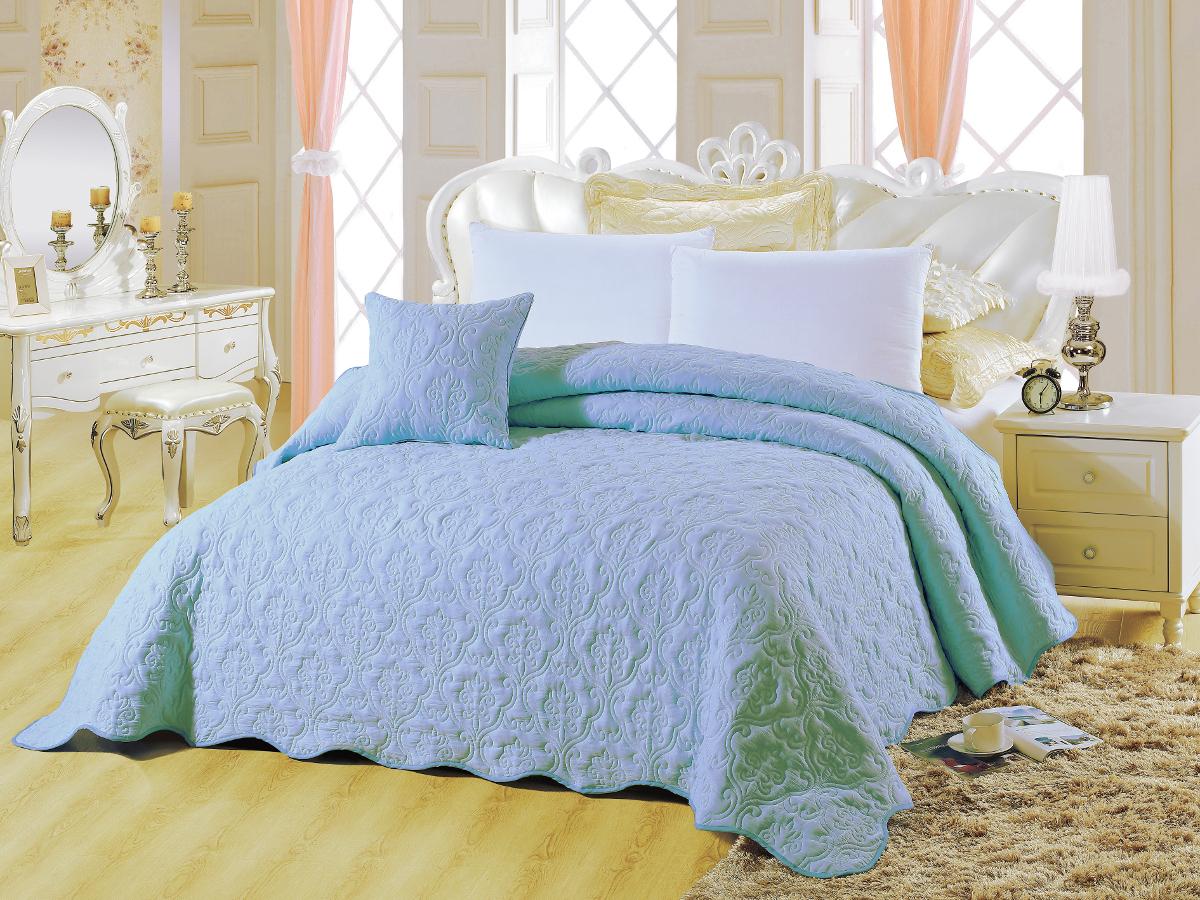 Покрывало Cleo Андора, цвет: бирюзовый, голубой, 220 х 240 смCLP446Покрывало Cleo Андора, цвет: бирюзовый, голубой, 220 х 240 см