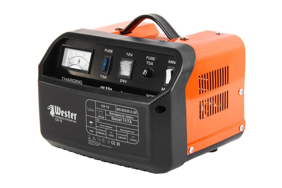 Зарядное устройство Wester CH15 для АКБ, 150 ВтSPECHR-011Зарядные предпусковые устройства Wester CH15 предназначены для зарядки свинцово-кислотных аккумуляторных батарей, используемых на дизельных и бензиновых двигателях, мотоциклах, моторных лодках.