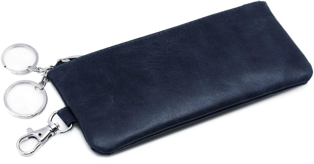 Ключница Soltan, цвет: темно-синий. 532 11 1739864|Серьги с подвескамиКлючница от Soltan выполнена из натуральной кожи с эффектом старения. Модель застегивается на молнии, имеет 2 кольца на цепочке для ключей и карабин.