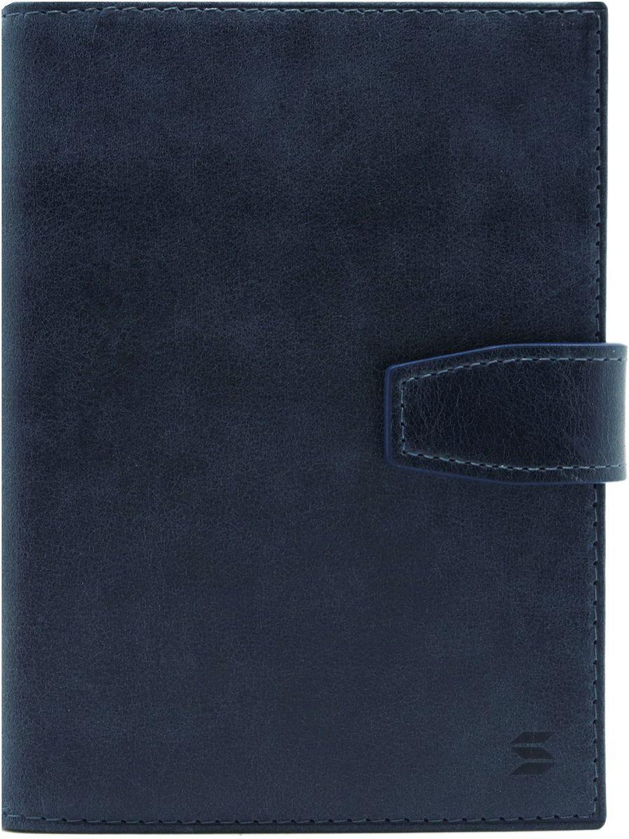 Обложка для документов Soltan, цвет: темно-синий. 075 11 17BS1689Обложка для документов Soltan выполнена из натуральной кожи с эффектом старения. Модель закрывается на кнопку, внутри четыре кармашка для карточек, файлы для документов, отделение для паспорта.
