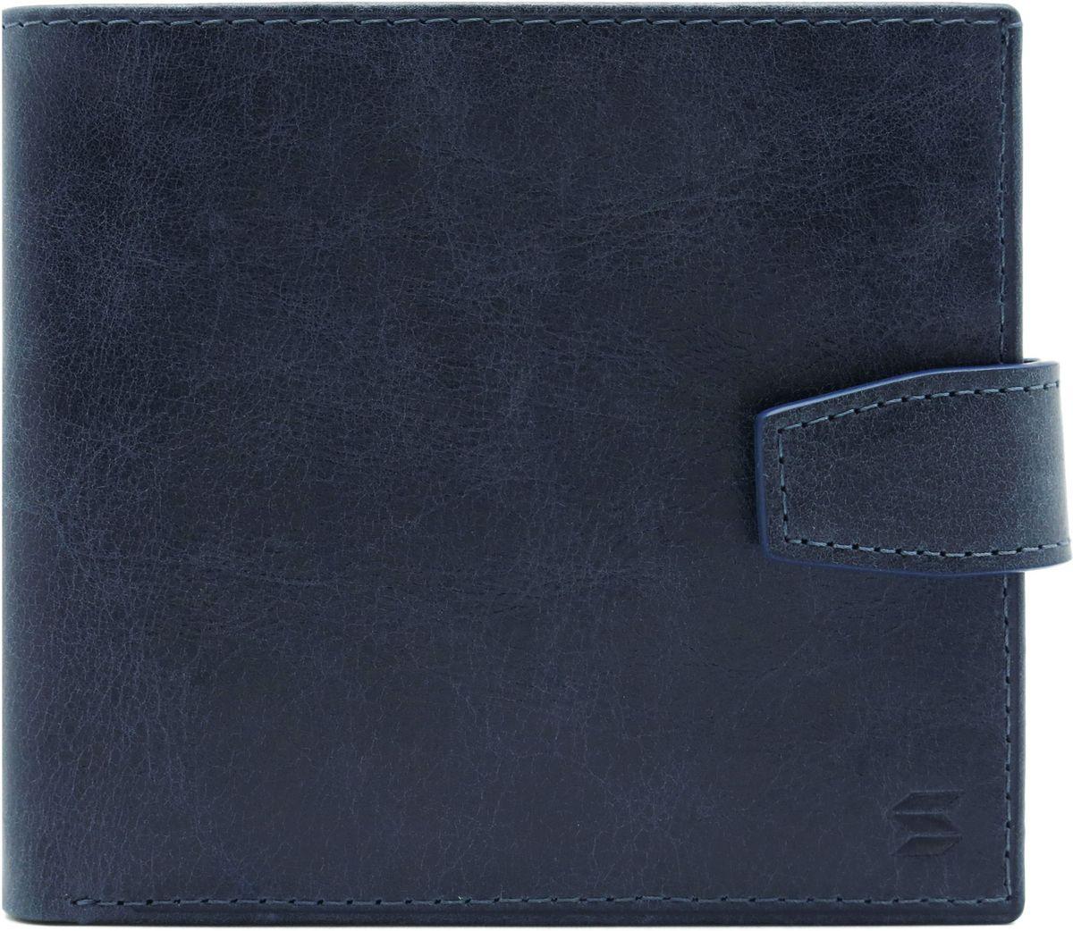Портмоне мужское Soltan, цвет: темно-синий. 160 11 17ERJAA03224-WBT0Портмоне Soltan выполнено из натуральной кожи с эффектом старения и застегивается на хлястик с кнопкой. Модельимеет три отделения для купюр, одно из которых на молнии, 3 кармашка для кредиток и отделение для мелочи.