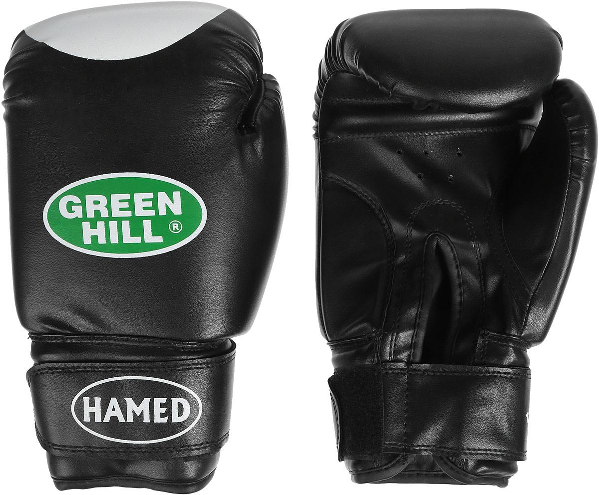 Перчатки боксерские Green Hill Hamed, цвет: черный. Вес 12 унцийG-2036312Боксерские перчатки Green Hill Hamed прекрасно подойдут для прогрессирующих спортсменов. Верх выполнен из искусственной кожи, наполнитель - из пенополиуретана. Перфорированная поверхность в области ладони позволяет создать максимально комфортный терморежим во время занятий. Широкий ремень, охватывая запястье, полностью оборачивается вокруг манжеты, благодаря чему создается дополнительная защита лучезапястного сустава от травмирования. Перчатки прекрасно сидят на руке. Застежка на липучке способствует быстрому и удобному надеванию перчаток, плотно фиксирует перчатки на руке.
