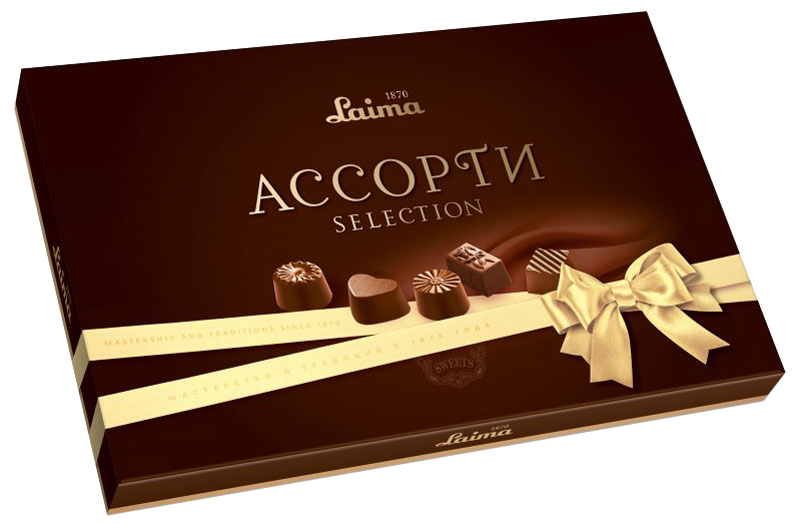 Laima Классика Ассорти конфет мини, 190 г0120710Конфеты Laima Классика Ассорти пяти разных форм и с тремя начинками: молочная помадка, фруктовое желе, крем-какао. В коробке европейского дизайна.