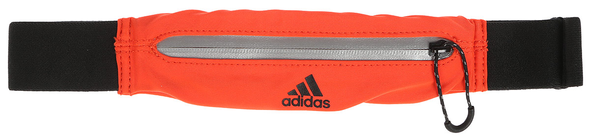 Сумка поясная для бега Adidas Run Belt, цвет: оранжевый, черныйS96358Сумка Adidas Run Belt выполнена из нейлона и эластана, оформлена символикой бренда. Сумка фиксируется на поясе с помощью застежки-фастекс. Сумка имеет удобный карман для мелочей на застежке-молнии, таких как ключи или деньги. Изделие оснащено светоотражающими деталями.Такая поясная сумка для бега станет настоящей находкой как для любителей, так и для профессиональных спортсменов, которые действительно серьезно подходят к экипировке.Длина пояса (с учетом сумки): 45-82 см.