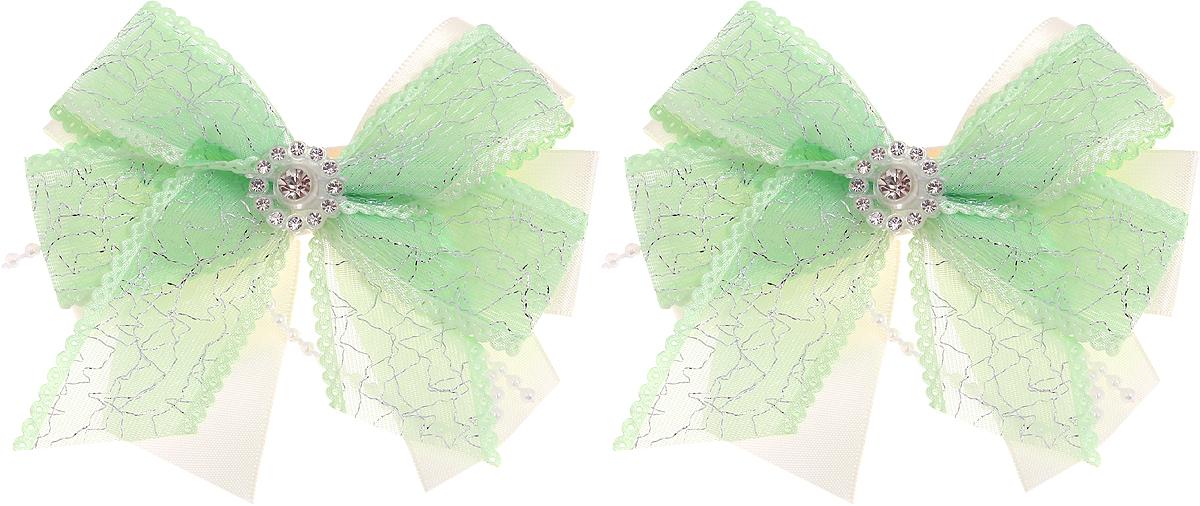 Babys Joy Резинка для волос цвет зеленый 2 шт MN 208/2Серьги с подвескамиРезинка для волос Babys Joy выполненав виде двойного банта из атласной ленты молочного цвета и декоративной зеленой ленты, центр которого закреплен элементом из страз. Резинка позволит не только убрать непослушные волосы с лица, но и придать образу немного романтичности и очарования.В упаковке: 2 резинки.Рекомендовано для детей старше трех лет.