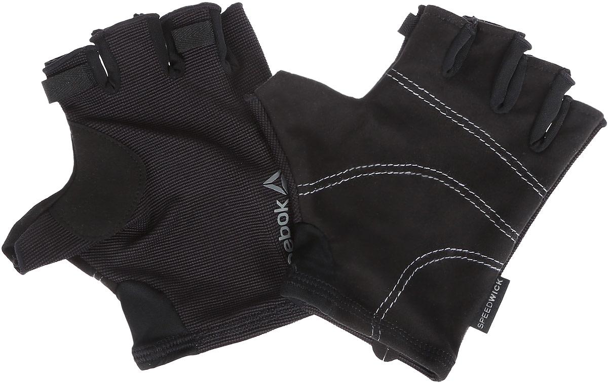 Перчатки для фитнеса Reebok Se U Workout Glove, цвет: черный. AJ6262. Размер L (22)0003954Перчатки Reebok Se U Workout Glove выполнены из эластичного текстиля PlayDry, выводящего лишнюю влагу с поверхности кожи. Такие перчатки гарантируют надежное сцепление с поверхностью, предохраняют руки от натирания. Эластичные манжеты. Без пальцев. Светоотражающий фирменный логотип.