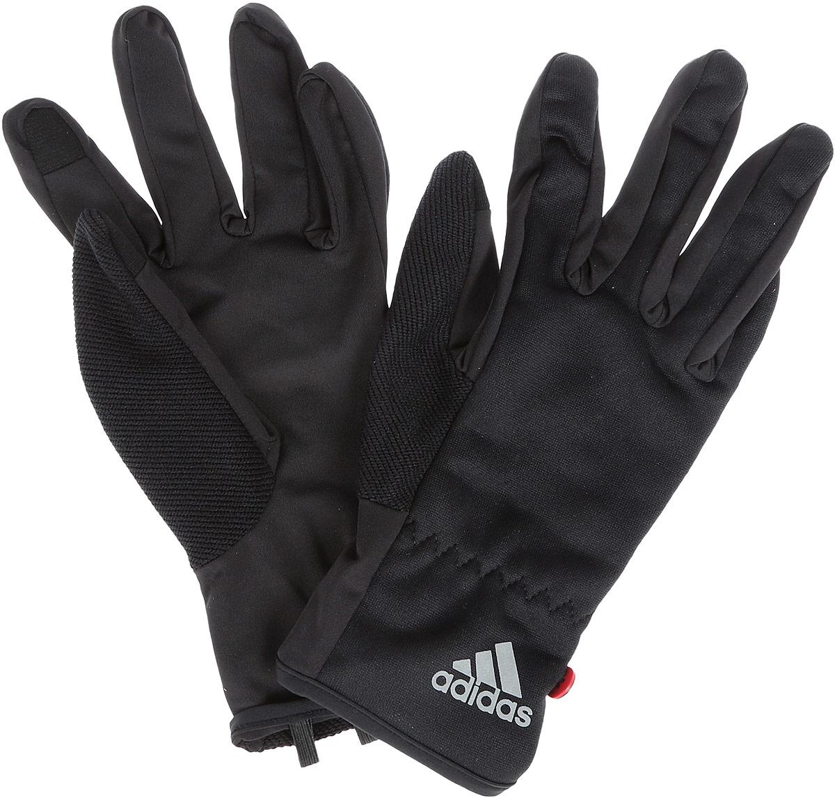 Перчатки для бега adidas Run Clmlt Glove, цвет: черный. S94173. Размер L (22)S94173Мягкие и легкие перчатки Adidas Run Clmlt Glove защитят вас от холода и непогоды во время интенсивной тренировки. Технология Сlimalite способствуетбыстрому выведению влаги с поверхности тела. Модель оформлена логотипом бренда.Выделяйтесь из толпы благодаря стильному дизайну перчаток.