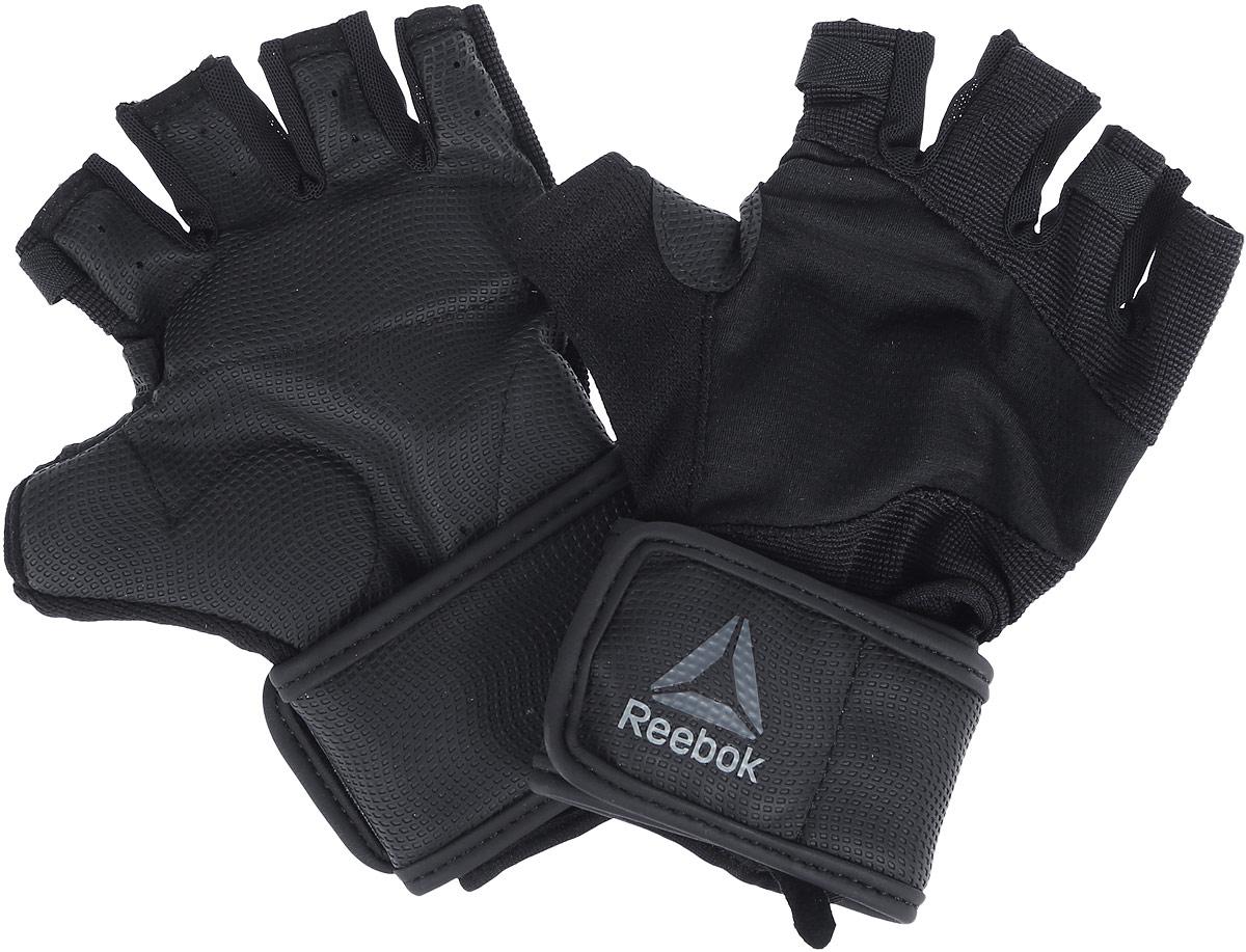 Перчатки для фитнеса Reebok Os U Wrist Glove, цвет: черный. BK6293. Размер L (22)BK6293Перчатки Reebok Os U Wrist Glove надежно защищают руки во время упражнений с весами. Поддержка запястий защитит суставы, а технология Speedwick отводит влагу с поверхности кожи, оставляя ощущение сухости и комфорта. Амортизирующие силиконовые вставки на ладонях поглощают энергию удара, а сетчатая структура обеспечивает эффективную вентиляцию. Перчатки выполнены из нескольких материалов для вентиляции и уверенного хвата. Ремешок на запястье служит для оптимальной посадки.