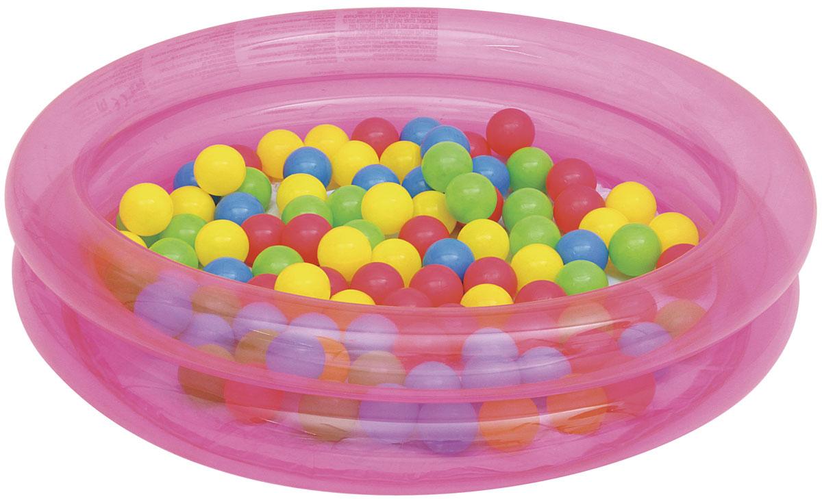Bestway Бассейн надувной детский с 50 шариками, 73 л51085Бассейн надувной для детей от 2 лет. Размер 91*20 см. В комплекте 50 цветных шариков. Объем бассейна 73 л. Подходит для использования на улице и в помещении.
