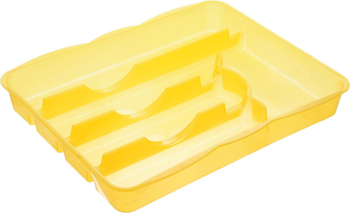 Лоток для столовых приборов Альтернатива, цвет: желтый, 5 отделений, 31,5 х 25 х 4 смVT-1520(SR)Лоток для столовых приборов Альтернатива изготовлен из высококачественного пищевого пластика. Он предназначен для выдвигающихся ящиков на кухне. Лоток имеет пять отделений: три отделения для вилок, ложек, ножей, одно маленькое отделение для чайных ложек и десертных вилок, одно большое отделение для остальных приборов.Размер отделений: 30 х 5,5 х 4 см; 20 х 5 х 4 см; 17 х 9,5 х 4 см.Общий размер лотка: 31,5 х 25 х 4 см.