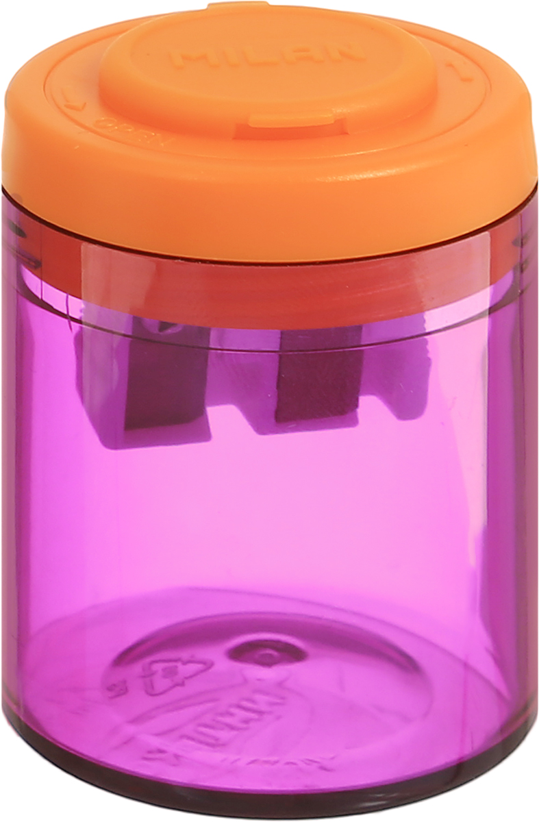Milan Точилка Collection с контейнером цвет фиолетовый оранжевый72523WDДизайнерская точилка Milan Collection оснащена безопасной системой заточки.Эта система предотвращает отделение лезвия от точилки. Идеально подходит для использования в школах. Стальное лезвие острое и устойчиво к повреждению. Идеально подходит для заточки графитовых и цветных карандашей