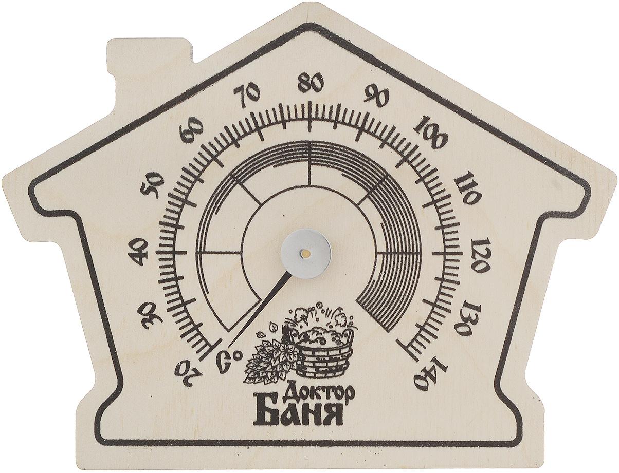 Термометр для бани и сауны Доктор Баня Банька. 905215APS-4L-01Оригинальный термометр Доктор Баня Банька покажет температуру и не останется незамеченным для посетителей бани. Корпус термометра изготовлен из древесины в виде домика. Максимальная измеряемая температура: +140°С. Минимальная измеряемая температура: + 20°С.Русский человек любит ходить в баню, а особенно - париться. Однако следует иметь в виду, что превышение температуры в парной приводит к определенным побочным эффектам - от головокружения и тошноты, до обострения хронических заболеваний. Избежать такого рода неприятностей вам поможет термометр Доктор Баня Банька. Вы сможете контролировать температуру и наслаждаться отдыхом.