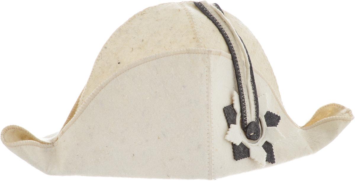 Шапка для бани и сауны Доктор Баня Наполеон, цвет: бежевый41187Шапка Доктор баня Наполеон станет незаменимым аксессуаром для любителей отдыха в бане и сауне. Шапка выполнена из войлока (100% шерсти) и оформлена в виде шляпы Наполеона. Необычный дизайн изделия поможет сделать ваш отдых более приятным и разнообразным, к тому же шапка защитит вас от появления головокружения в бани, ваши волосы от сухости и ломкости, а голову от перегрева. Обхват головы (по основанию шапки): 72 см. Общая высота шапки: 22 см.