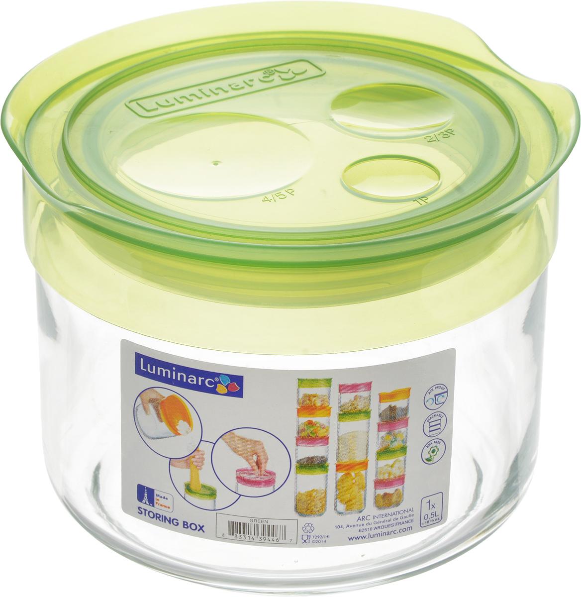 Банка для сыпучих продуктов Luminarc Storing Box, с крышкой, цвет: салатовый, 500 млFA-5125 WhiteБанка Luminarc Storing Box, выполненная из упрочненного стекла, станет незаменимым помощником на кухне. В ней будет удобно хранить разнообразные сыпучие продукты, такие как кофе, сахар, соль или специи. Прозрачная банка позволит следить, что и в каком количестве находится внутри. Банка надежно закрывается пластиковой крышкой, которая снабжена резиновым уплотнителем для лучшей фиксации. Такая банка не только сэкономит место на вашей кухне, но и украсит интерьер.Объем: 500 мл.Диаметр банки (по верхнему краю): 9 см.Высота банки (без учета крышки): 8 см.