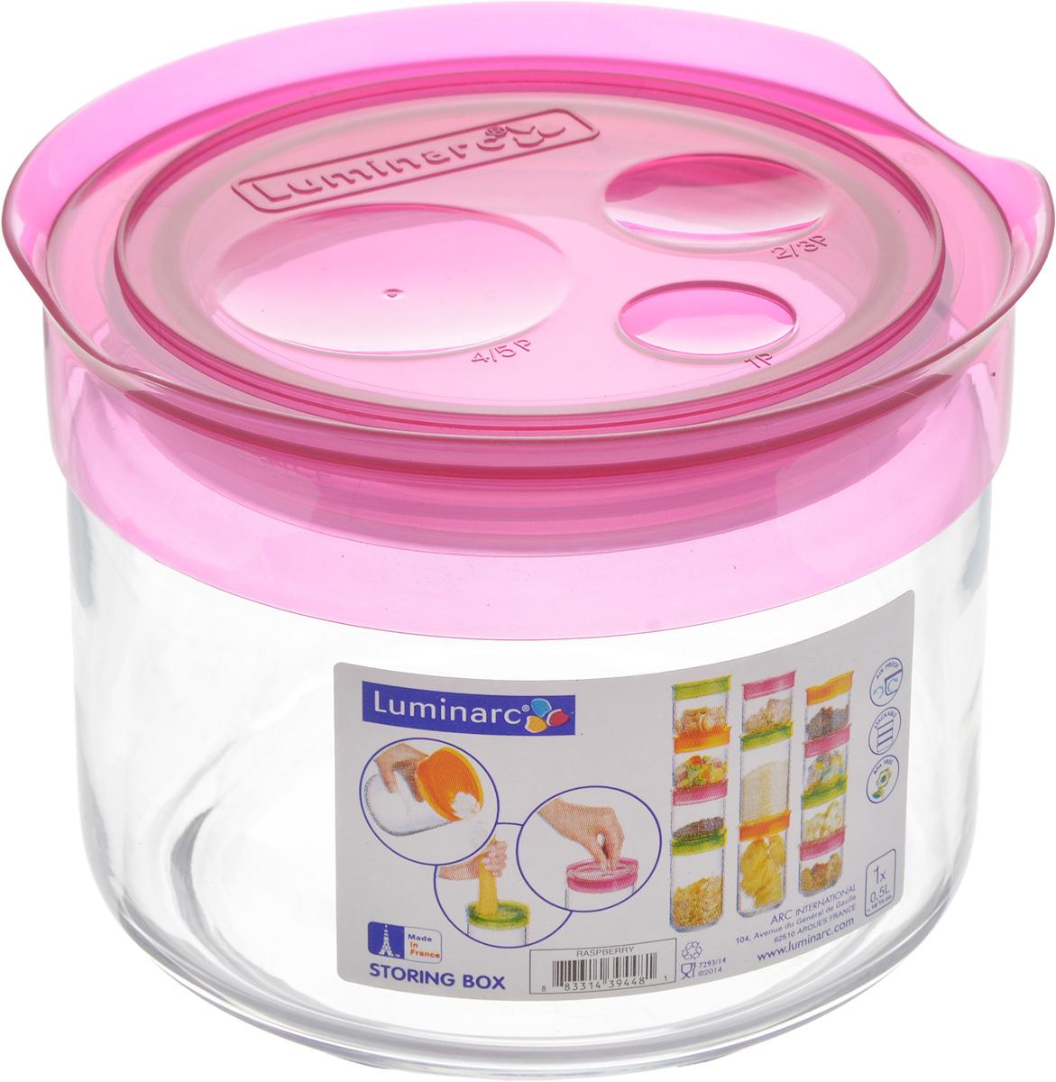 Банка для сыпучих продуктов Luminarc Storing Box, с крышкой, цвет: малиновый, 500 мл4630003364517Банка Luminarc Storing Box, выполненная из упрочненного стекла, станет незаменимым помощником на кухне. В ней будет удобно хранить разнообразные сыпучие продукты, такие как кофе, сахар, соль или специи. Прозрачная банка позволит следить, что и в каком количестве находится внутри. Банка надежно закрывается пластиковой крышкой, которая снабжена резиновым уплотнителем для лучшей фиксации. Такая банка не только сэкономит место на вашей кухне, но и украсит интерьер.Объем: 500 мл.Диаметр банки (по верхнему краю): 9 см.Высота банки (без учета крышки): 8 см.